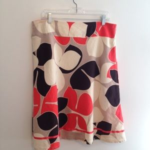 Cato Linen Skirt Orange Brown Cream | Size 16